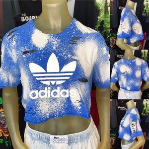 adidas Distressed Bleached Crop Top Tee Shirt M